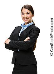 経営者, 交差する 腕, 女性, 肖像画, 半分長さ