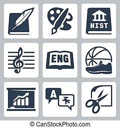 経済学, 学校, アイコン, 歴史, 言語, 外国である, pe, ベクトル, 英語, 技能, 音楽, 主題, 文学, 芸術, set: