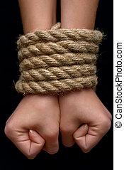 結ばれた, 女の子, 若い, ロープ
