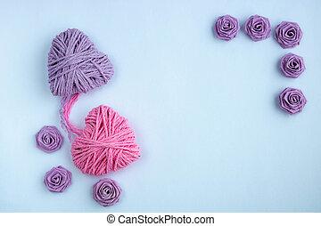 結び目, ライラック, 背景, 1(人・つ), 心, 糸, 2, 作られた, 編まれる, ピンク, 白