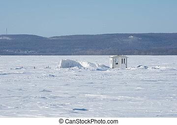結冰, 小屋, ice-fishing, 湖