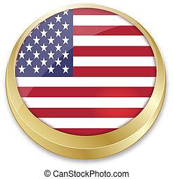 結合した国家, ボタン, 旗, 形, アメリカ