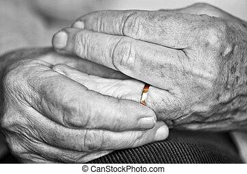 結合, 手, 老, 婚禮