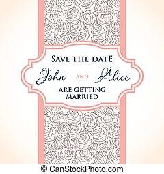 結婚式の招待, カード, デザイン, ∥で∥, 多彩, 低下, 花, elements.
