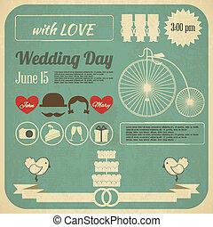 結婚式の招待, カード, infographics