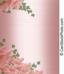 結婚式の招待, ボーダー, ピンクの朱子織