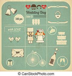 結婚式の招待, レトロ, カード, infographics
