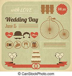 結婚式の招待, 日, カード, infographics