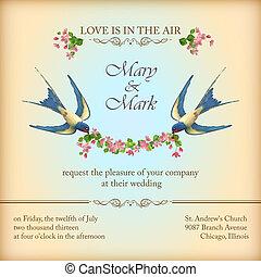 結婚式の招待, 花, 花, 鳥, カード