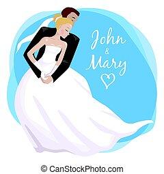 結婚式の カップル, ダンス。, イラスト, 抱き合う, ベクトル