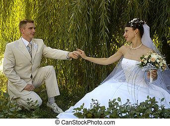 結婚式の カップル, 中に, ロマンチック, スタイル