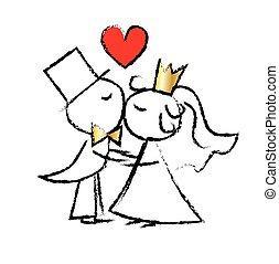 結婚式の カップル, 愛