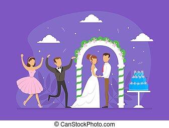 結婚式, アーチ, ゲスト, 恋人, イラスト, ロマンチック, 平ら, 式, 地位, 祝うこと, ベクトル, それら, 新婚者