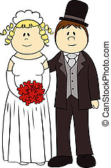 結婚式, カップル。