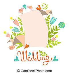 結婚式, カード, テンプレート, 招待