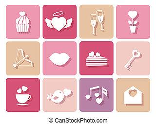 結婚式, カード, バレンタイン, セット, アイコン