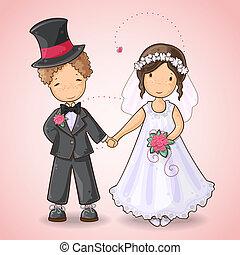 結婚式, カード, 花婿, 花嫁