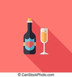 結婚式, シャンペン, 平ら, アイコン, ∥で∥, 長い間, 影