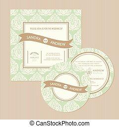 結婚式, セット, カード, 招待