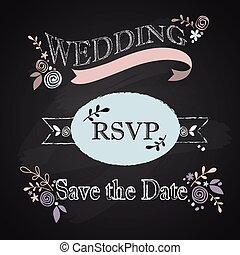 結婚式, セット, 招待