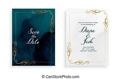 結婚式, テンプレート, 花, カード, 優雅である, デザイン, 招待