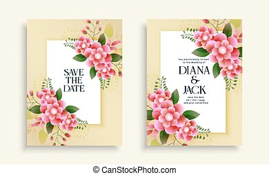 結婚式, テンプレート, 花, カード, 美しい, デザイン, 招待