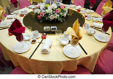 結婚式, テーブル, 中に, a, レストラン