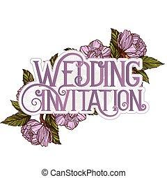 結婚式, デザイン, テンプレート, 招待