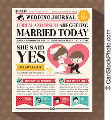 結婚式, デザイン, 招待, 新聞, 漫画, カード