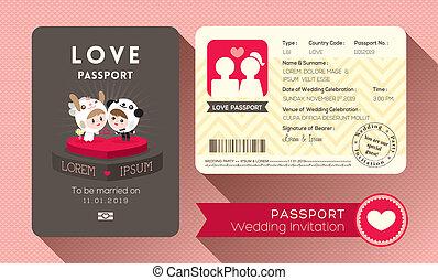 結婚式, パスポート, 招待