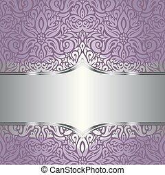結婚式, ベクトル, デザイン, 背景, すみれ, 花, 銀