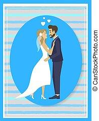 結婚式, ベクトル, 式, 接吻, 花嫁, 花婿