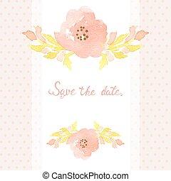 結婚式, ポルカ, バックグラウンド。, カード, 招待, 花, 点