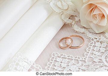 結婚式, レース, 生地