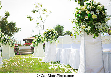 結婚式, 中に, a, 美しい, 庭