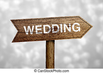 結婚式, 前方に, 道 印