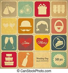 結婚式, 古い, レトロ, カード, 招待