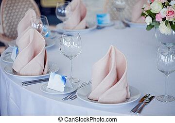 結婚式, 宴会, 小さい, レストラン, 中に, 海である, スタイル