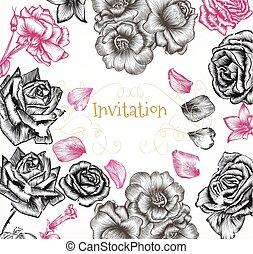 結婚式, 手, ばら, 主題, 招待, 引かれる, 刻まれる, カード