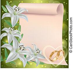 結婚式, 挨拶, 招待, 花, ユリ, ∥あるいは∥, カード