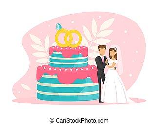 結婚式, 新婚者, 恋人, イラスト, ∥(彼・それ)ら∥, 花嫁, 花婿, ∥横に∥, 特徴, 平ら, 地位, ケーキ, ごく小さい, ベクトル, パーティー