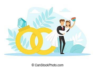 結婚式, 新婚者, 手, 恋人, bonded, イラスト, 花婿, 花嫁, ∥横に∥, 彼の, リング, 平ら, 地位, ごく小さい, ベクトル, 保有物