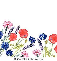 結婚式, 水彩画, cornflower, invitation., ケシ, パターン, 甘い, ペイントされた, 花...