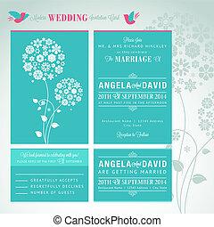 結婚式, 現代, セット, カード, 招待