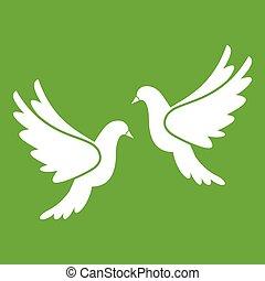 結婚式, 緑, 鳩, アイコン