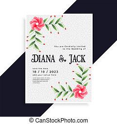 結婚式, 美しい, デザイン, カード, 招待