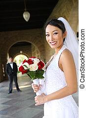 結婚式, 美しい, 花嫁