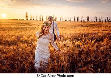 結婚式, 花婿, 彼女, 花嫁, 国, 先導