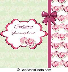 結婚式, 花, カード, 招待