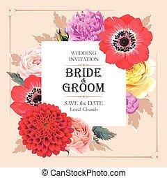 結婚式, 花, 招待